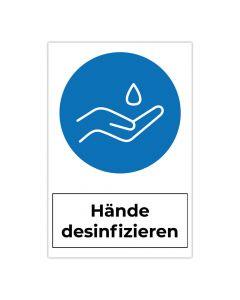 Fertigschild - Hände desinfizieren