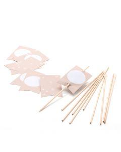 FLAGS - kraft - 82 x 50 mm and wooden sticks 200 mm - 10 pcs.