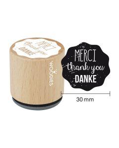 Woodies Motivstempel - Merci - thank you - Danke